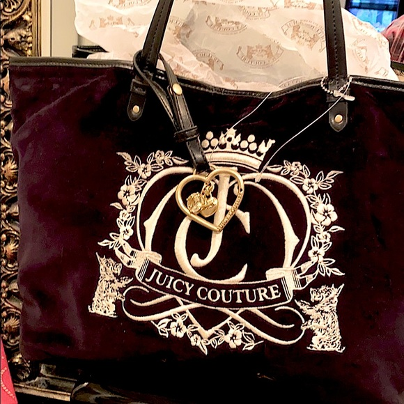 NEW Juicy Couture Black velvet leather crown bag